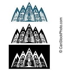 abstrakt, mountains, sätta