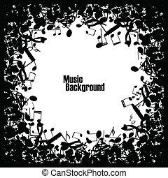 abstrakt, musik, hintergrund, mit, notizen, vektor