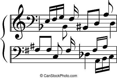 abstrakt, musik, kombination, symbole, notizen, karikatur