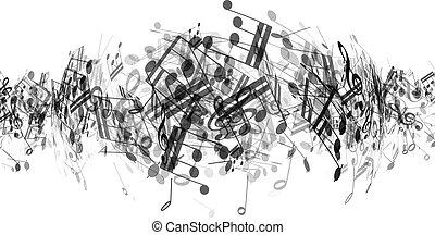abstrakt, musik, noteringen, bakgrund