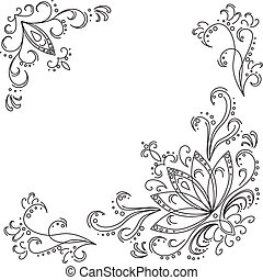 abstrakt, muster, lotos, konturen