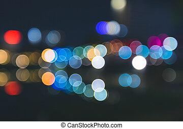 abstrakt, natt, bokeh, bakgrund, defocused