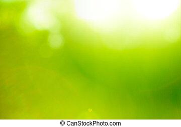 abstrakt, natur, grøn baggrund, (sun, flare).