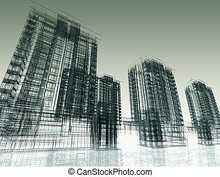 abstrakt, nymodig arkitektur