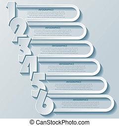 abstrakt, nymodig, infographics, design, med, numrerar