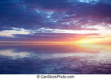 abstrakt, ocean solnedgang