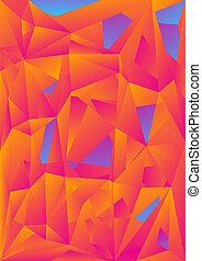 abstrakt, orange, blauer hintergrund, polygonal