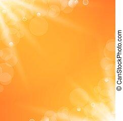 abstrakt, orange, hell, hintergrund, mit, sonne- licht, strahlen