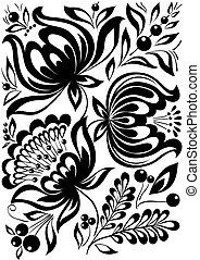 abstrakt, ornament., element, flowers., svart, retro, stilig, design, vit
