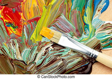 Abstrakt paint and paintbrush,close up image