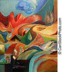 abstrakt, painting.