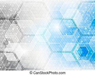 abstrakt, pattern., vektor, hintergrund, technologisch, sechseck, zukunftsidee