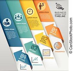 abstrakt, pfeil, infographics, template., buechse, sein, gebraucht, für, workflow, plan, diagramm, zahl, optionen, geschaeftswelt, treten, optionen, banner, netz- design