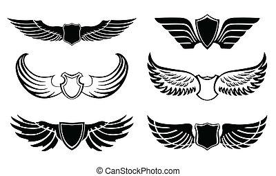 abstrakt, pictograms, satz, feder, flügeln