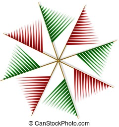 abstrakt, pinwheel, von, rot grün, streifen