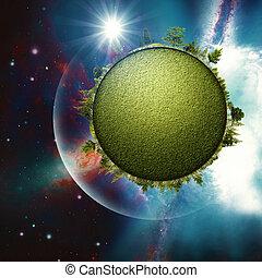 abstrakt, planet., hintergruende, umwelt, grün, design, dein