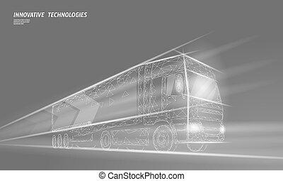 abstrakt, poly, hastighet, transport, skåpbil, fasta, polygonal, dimma, låg, internationell, truck., lorry, motorväg, transport, illustration, leverans, trafik, logistic., grå, industri, skeppning, vektor