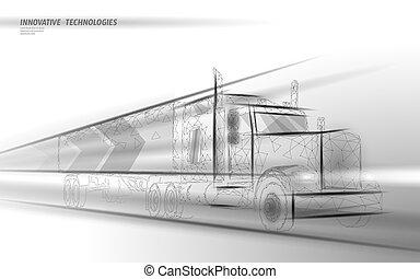abstrakt, poly, hastighet, transport, skåpbil, fasta, polygonal, låg, internationell, vit, truck., lorry, motorväg, transport, illustration, leverans, trafik, logistic., grå, industri, skeppning, vektor