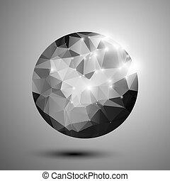 abstrakt, polygonal, sphere, sort, hvid, skinnende