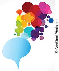 abstrakt, pratstund, färgrika ballonger