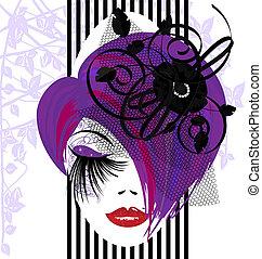 abstrakt, purple-haired, dame