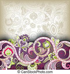 abstrakt, purpur, blommig