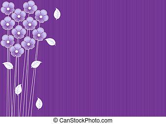 abstrakt, purpurfärgad fond, med, blomningen