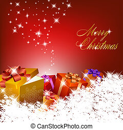 abstrakt, röd, jul, bakgrund, med, gåva boxar