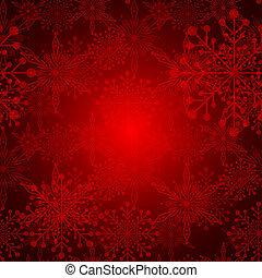 abstrakt, röd, jul, snöflinga, bakgrund