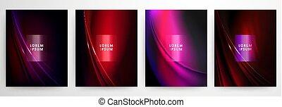 abstrakt, röd, mörk, vågig, elegant, bakgrund, sätta