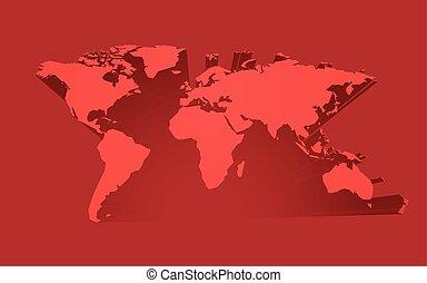abstrakt, röd, världen kartlägger