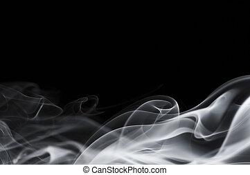 abstrakt, rauchwolken, freigestellt, auf, schwarz
