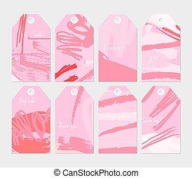 abstrakt, rauh, grunge, schläge, rosa, etikett, satz