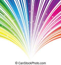 abstrakt, regnbue, farve, stribe, baggrund, hos, stjerner