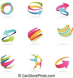 abstrakt, remsor, och, pilar, ikonen
