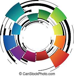 abstrakt, ring, farbig