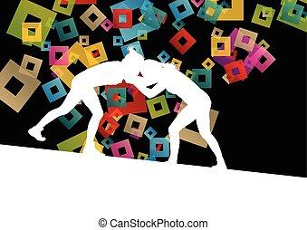 abstrakt, ringen, junger, abbildung, griechischer , römisches , vektor, hintergrund, aktive, silhouetten, sport, frauen