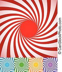 abstrakt, roterande, lines., bakgrunder, spirally, ...