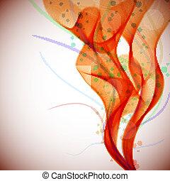abstrakt, rotes , rauchwolken