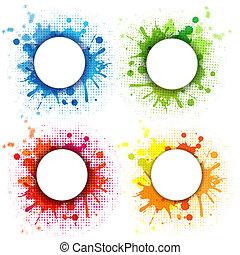 abstrakt, sätta, bubbla, droppar