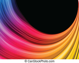abstrakt, schwarzer hintergrund, bunte, wellen