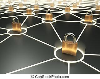 abstrakt, secure, netværk, begreb