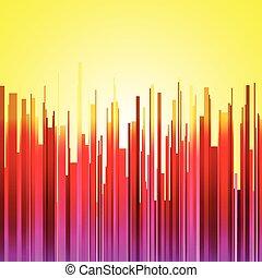 abstrakt, senkrecht, rotes , lila, und, orange, steigung, streifen, stadt, landschaftsbild, auf, gelber , sonnenaufgang, hintergrund