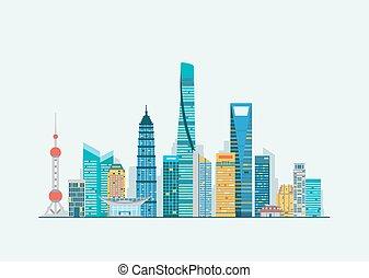 abstrakt, shanghai, skyline