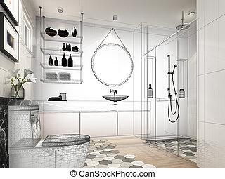 abstrakt, skizze, design, von, inneneinrichtung, badezimmer, übertragung