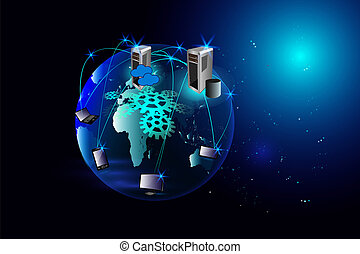 abstrakt, sky, computing, netværk
