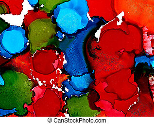 abstrakt, slösar, fläckar, grön, applicera, röd