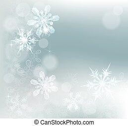 abstrakt, snöflingor, bakgrund, snö