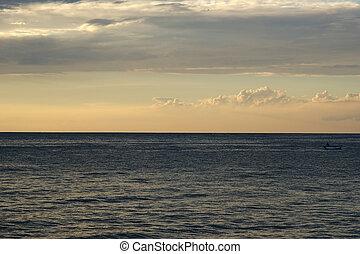 abstrakt, solnedgång, bakgrund, ocean