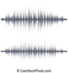 abstrakt, soundwave, schwarz, form